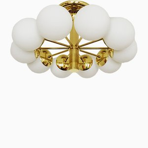 Lámpara de techo Sputnik grande dorada de Kaiser Leuchten, años 60