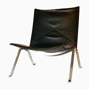 Vintage PK 22 Black Leather Chair by Poul Kjærholm for Fritz Hansen