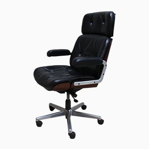 Vintage Adjustable Black Leather Swivel Chair from Giroflex, 1980s