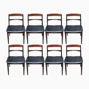 Esszimmerstühle aus Palisander & Leder von Vejle Mobelfabrik, 1960er, 8er Set