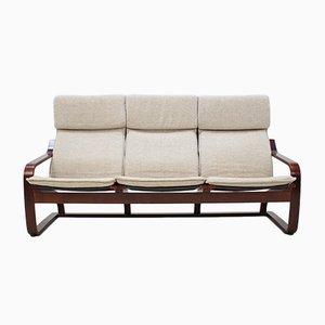 Sofá de tres plazas vintage de madera curvada de TON, años 80