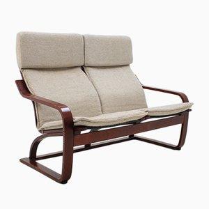 Sofá de dos plazas vintage de madera curvada de TON, años 80