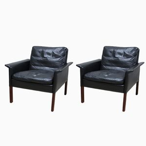 Black Leather Armchairs by Hans Olsen for CS Mobelfabrik, 1960s, Set of 2