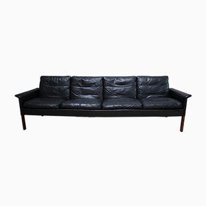 Vintage Sofa aus schwarzem Leder & Palisander von Hans Olsen für CS Mobelfabrik, 1960er