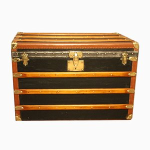 Vintage Black Steamer Trunk from Moynat, 1930s
