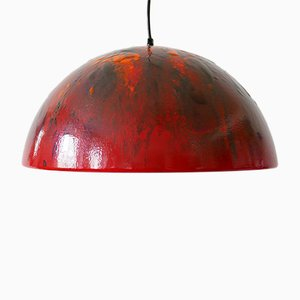 Large Mid-Century Enameled Dome Pendant Lamp, 1960s