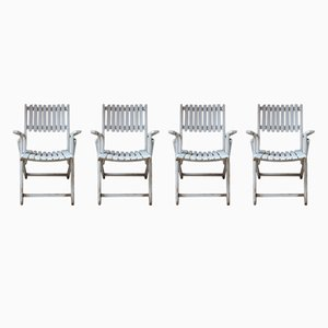 Vintage Wooden Garden Armchairs, Set of 4