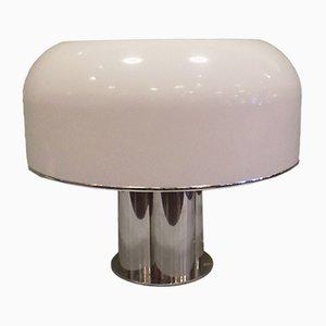 Lampada da tavolo grande in acciaio cromato e acrilico bianco di Guzzini, 1968