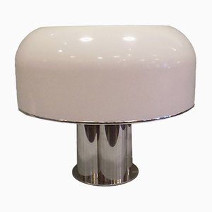 Large Table Lamp in Chrome & White Acrylic from Guzzini, 1968