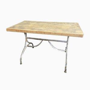 Mesa de bistró vintage de metal y roble, años 30