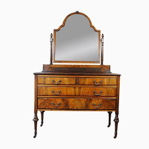 Antique Walnut Dresser & Vanity Mirror, 1900s