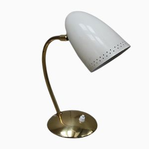 Brass Lamp with Rotatable Enamel Shade, 1950s