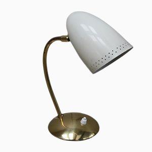 Messinglampe mit drehbarem Emaille-Schirm, 1950er
