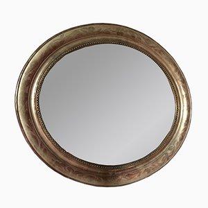 Miroir Ovale 19ème Siècle Doré