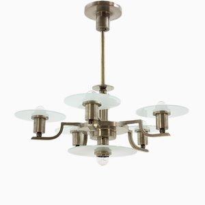 Lámpara de araña Bauhaus vintage de metal cromado, años 20