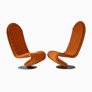 Model 1-2-3 Armchairs by Verner Panton for Fritz Hansen, 1974, Set of 2