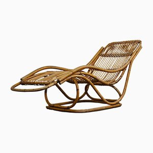 Chaise longue Mid-Century in vimini, anni '60