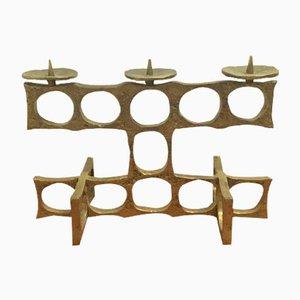 Vintage Brutalist Brass Candleholder