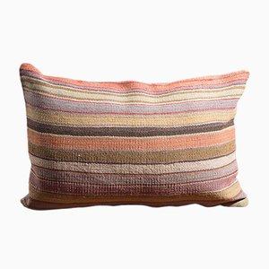 Cuscino in lana e cotone blu, rosa e color senape di Zencef