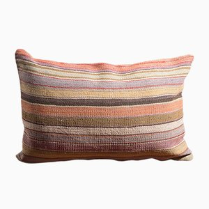 Mustard-Orange-Blue-Pink Handmade Wool & Cotton Kilim Pillow by Zencef