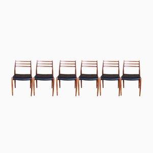 Modell 78 Esszimmerstühle aus Teak von Niels O. Moller für J.L. Moller, 1954, 6er Set