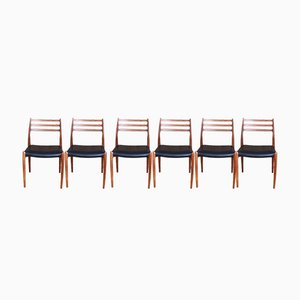 Teak Model 78 Dining Chairs by Niels O. Moller for J.L. Moller, 1954, Set of 6
