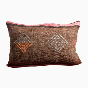 Brown-Pink Hand Embroidered Wool & Cotton Kilim Pillow by Zencef