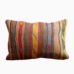 Mustard-Blue-Orange-Yellow Embroidered Handmade Wool & Cotton Kilim Pillow by Zencef