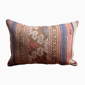 Cojín Kilim de algodón y lana mostaza, verde, azul y rosa hecho a mano de Zencef