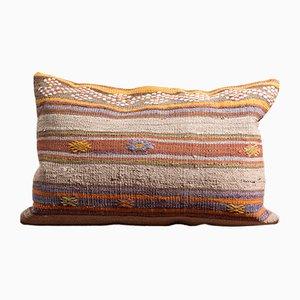 Cuscino in lana e cotone in lana e cotone blu, verde, rosa e color senape di Zencef