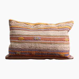 Mustard-Green-Blue-Pink Handmade Wool & Cotton Kilim Pillow by Zencef