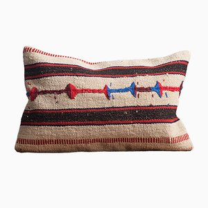 White-Brown-Blue-Striped Handmade Wool & Cotton Kilim Pillow by Zencef