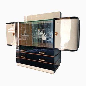 Italian Parchment Showcase Sideboard, 1950s