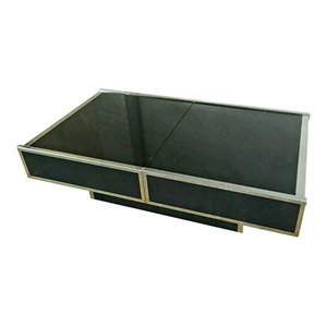 Black Glass & Steel Coffee Table with Integrated Bar from Maison Lancel, 1970s