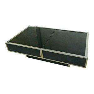 Couchtisch aus schwarzem Glas & Stahl mit integrierter Bar von Maison Lancel, 1970er