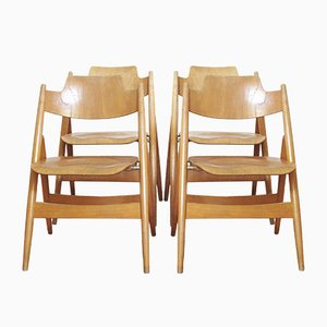 Vintage SE18 Folding Chairs by Egon Eiermann for Wilde+Spieth, 1950s, Set of 4