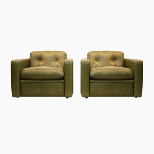 Italian Olive Green Leather Lounge Chairs from Poltrona Frau, 1970s, Set of 2