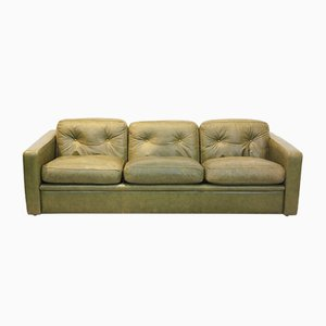 Olive Green Leather Three-Seat Sofa from Poltrona Frau, 1970s