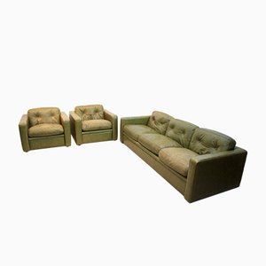 Italian Olive Green Leather Living Room Set From Poltrona Frau 1970s