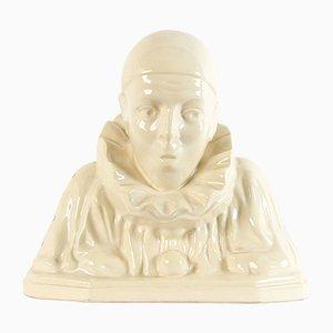 Figurina di Pierrot Art Deco in ceramica