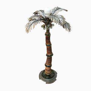 Lampe Palmier Vintage en Argent, en Or, en Laiton, en Verre Marron et en Paille de Maison Jansen