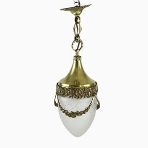 Lampada a sospensione Art Nouveau in bronzo