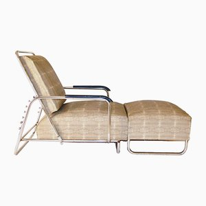 Large Bauhaus Adjustable Lounge Chair with Stool, 1930s
