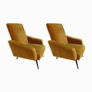 Vintage Mustard Velvet Easy Chairs, 1960s, Set of 2