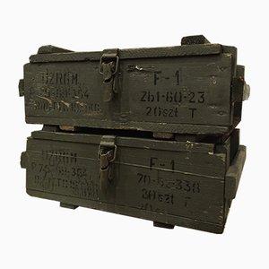 Cajas de munición militar Mid-Century. Juego de 2