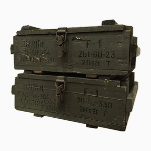 Mid-Century Military Ammunition Boxes, Set of 2