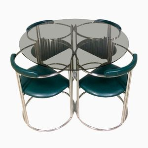 Vintage Italian Chrome-Plated & Skai Dining Set, 1970s
