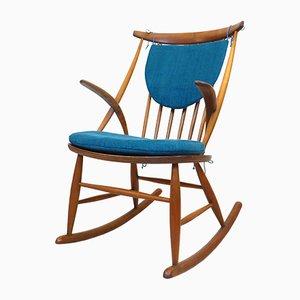 Sedia a dondolo IW3 vintage di Illum Wikkelso per Niels Eilersen, anni '60