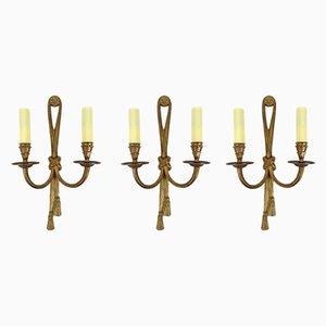 Lámparas de pared francesas vintage de bronce, años 50. Juego de 3