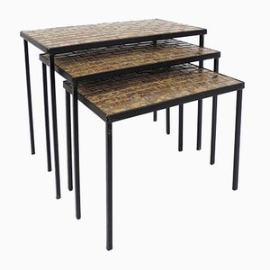 Iron & Ceramic Nesting Tables, 1960s, Set of 3
